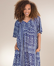Cotton Beach Loungers - Sante V-Neck Short Sleeve Dress in Trinidad