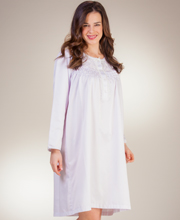Brushed Back Satin Nightgown By Miss Elaine - Smocked Waltz in Lavender
