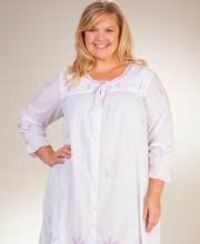 Plus Cotton La Cera Robe - Long Button-Front Robe in Lavender Grove