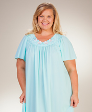 Plus Shadowline Petals Flutter Sleeves Long Nightgown - Seafoam