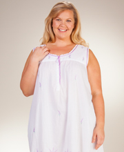 Plus La Cera Sleeveless Long 100% Cotton Lawn Gown in Lavender Grove