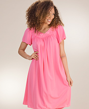 Miss Elaine Classics - Short Nylon Nightgown in Wild Rose