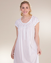 Eileen West Cotton Lawn Cap Sleeve Ballet Nightgown - Seaside Daisy