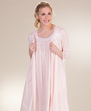 Peignoir Set by Eileen West - Cotton Lawn Gown and Robe In Charlotte Rose