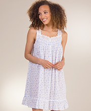 Short Eileen West Sleeveless Eyelet Trim Nightgown in Distant Song