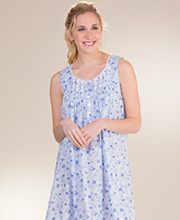 Eileen West Cotton Lawn Sleeveless Ballet Nightgown in Blue Happiness