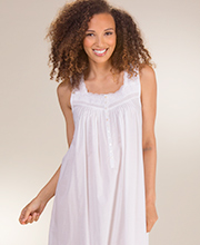 Sleeveless Eileen West Cotton Lawn Ballet Nightgown - Charlotte White