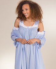 Eileen West Peignoir Set - Swiss Dot Gown and Robe In Devoted Blue