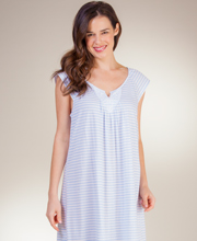 Carole Hochman Nightgowns - Long Cotton Knit Cap Sleeve in Seaside Stripe