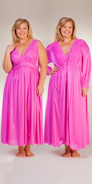182fccf8fc120 Plus Shadowline Peignoir Set - Silhouette Nightgown Robe Set in Raspberry