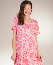 La Cera Knit Dresses - A-Line Short Sleeve Cotton in Simply Coral