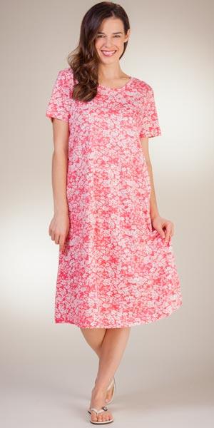 La Cera Plus Knit Dresses - A-Line Short Sleeve Cotton in Simply Coral