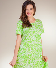 Plus A-Line La Cera Dresses - Short Sleeve Cotton Knit in Simply Lime