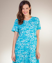 Cotton Plus La Cera Dresses - A-Line Knit Short Sleeve in Simply Turquoise