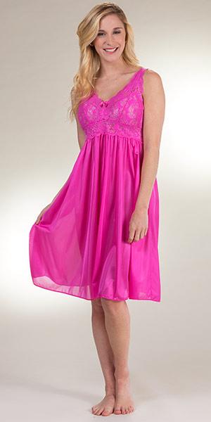 06e09a74b86 Short Shadowline Silhouette Sleeveless Nightgown in Raspberry