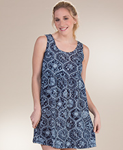 Cotton Babydoll Dress - Icantoo Beach Coverup Sundress in Sanibel Navy