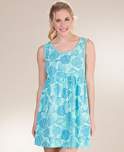 Cotton Beach Dress - I Can Too Babydoll Cover Up in Mint Seashells