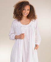 Peignoir Set by Eileen West - Swiss Dot Gown and Robe In White Cantata