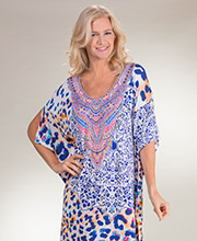 Ellen Tracy Rayon Blend Scoop Neck Kaftan Lounger in Exuberance