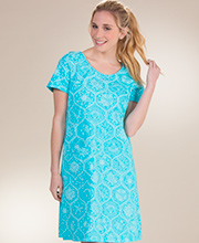 Cotton Beach Dresses - Icantoo Short Sleeve Cover Up in Sanibel Aqua