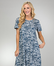 A-Line XL Cotton La Cera Dresses Knit Short Sleeve in Simply Navy