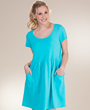 I Can Too Cotton Short Sleeve Scoop Neck Beach Dress in Aqua
