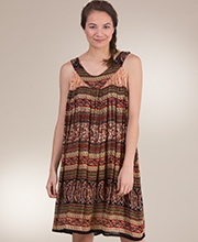 Beach Dress - Short Sleeveless Rayon Dress in Harvest