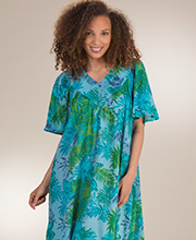 Plus Beach Dresses - Sante V-Neck Short Sleeve Cotton Lounger in Tobago