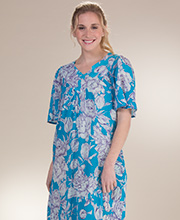 Plus Beach Dresses - Sante Cotton V-Neck Short Sleeve Dress in Tulip Island