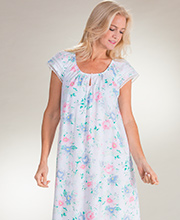Plus Carole Hochman Cotton Flutter Sleeve Mid-Length Nightgown in Pastel Garden