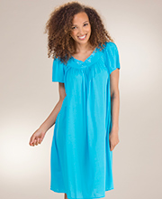 Plus Miss Elaine Classics Flutter Sleeve Nylon Short Nightgown - Blue