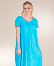 Long Miss Elaine Classics Flutter Sleeve Nylon Nightgown - Blue