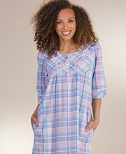 Long Miss Elaine Seersucker - Square Neck Zip Robe in Blue Pink Plaid