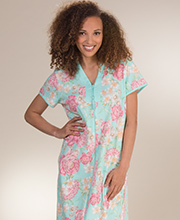 Miss Elaine Robes - Long Zip Front Knit Robe in Floral Fields
