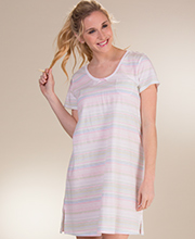 Cotton Nightshirt - Carole Hochman Short Sleeve Knit  in Pastel Stripes