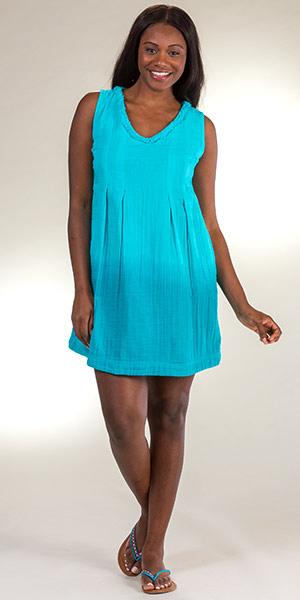 d80261b66 Cotton Peppermint Bay Sleeveless Short Sundress in Bluebell