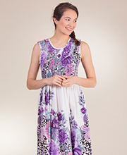 Sleeveless Metropolitan Smocked Long Cotton Sun Dresses in Wild Violet