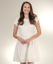 DownEast 100% Cotton Eyelet Cap Sleeve Dress in Ivory