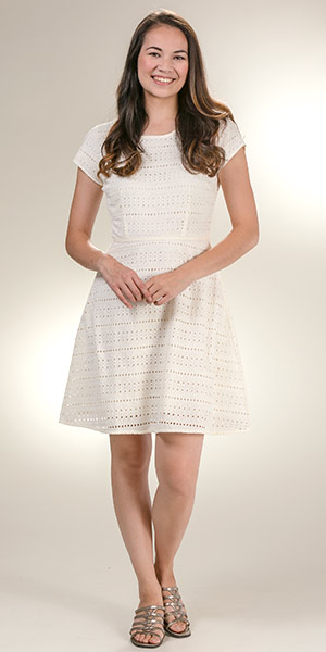 e483339abdc33 DownEast 100% Cotton Eyelet Cap Sleeve Dress in Ivory