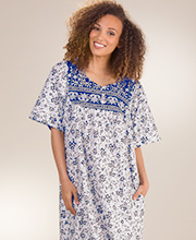 Plus Cotton Dresses - Short Sleeve Mid-Length Muu Muu in Sapphire Vines