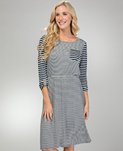 Jersey Knit  3/4 Sleeve DownEast Rayon Blend Dress - Navy Stripe