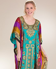 Kaftans by Sante - One Size Polyester Lounger in Prismatic Vines