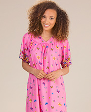 Short Sleeve Gowns - 100% Polyester Muu Muu Dress in Pink Butterfly