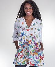 e8fe2e80e9c40c Tunics by La Cera - 3 4 Sleeve Cotton Pleated Top - Rainbow Butterflies