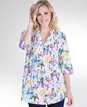 La Cera Plus 3/4 Sleeve Cotton Pleated Tunic Top in Twilight Butterfly