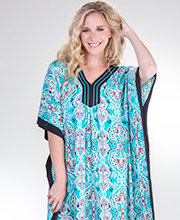 Ellen Tracy Kaftans - Cotton Rayon V-Neck Lounger in Joyful Teal