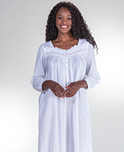 Long Sleeve Eileen West Cotton Lawn Nightgown in White Classic