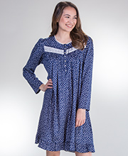 Eileen West Cotton Knit Long Sleeve Short Nightgown in Daisy Dreaming