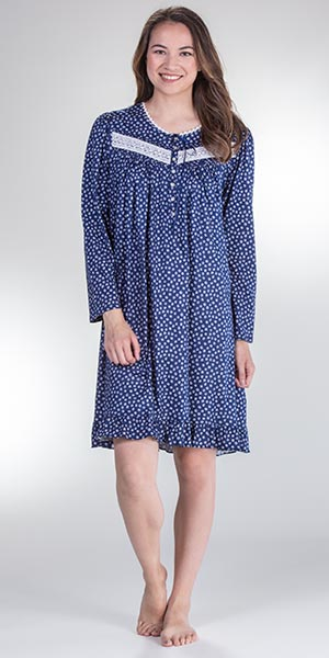 8e17ace4b81f Eileen West Plus Gown - Short Cotton Knit Long Sleeve in Daisy Dreaming