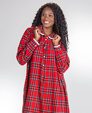 Lanz Nightgown - Long Peter Pan Collar Cotton Flannel in Red Plaid